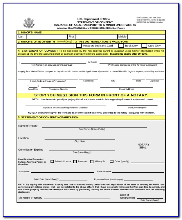 Form For Passport Renewal Application