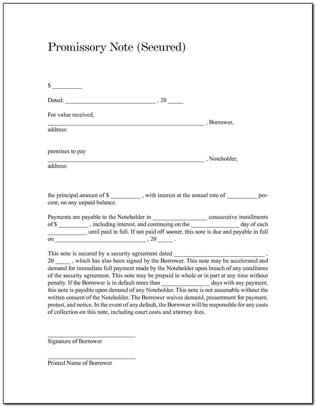 Form Promissory Note Secured By Deed Of Trust