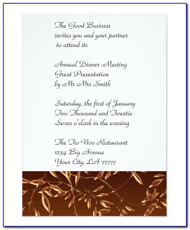 Formal Business Dinner Invitation Template