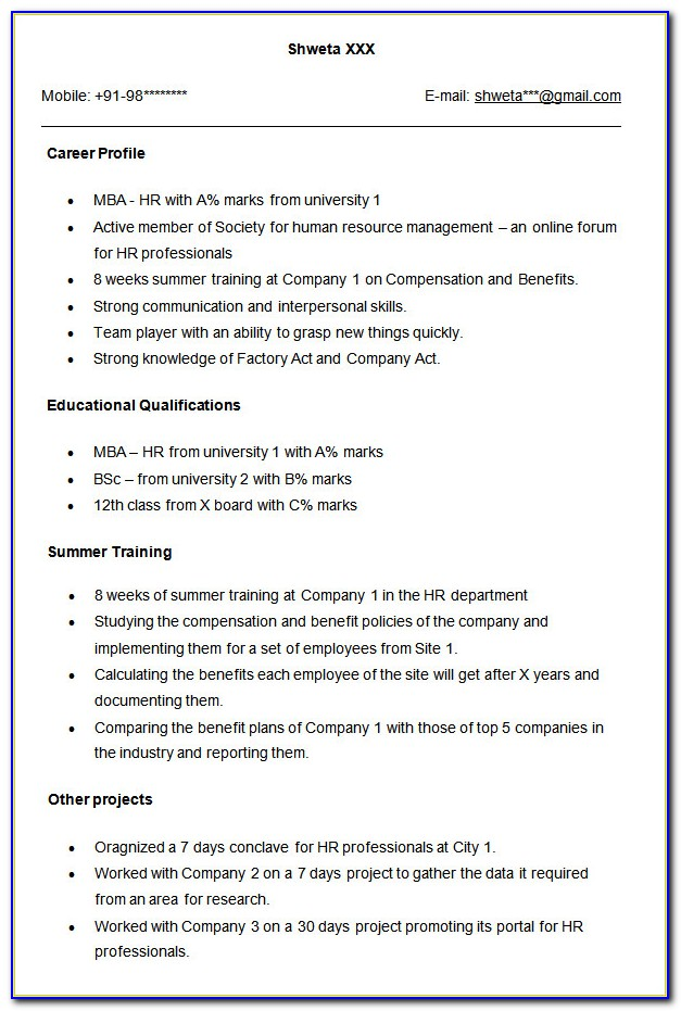 Format Of Resume Writing In English