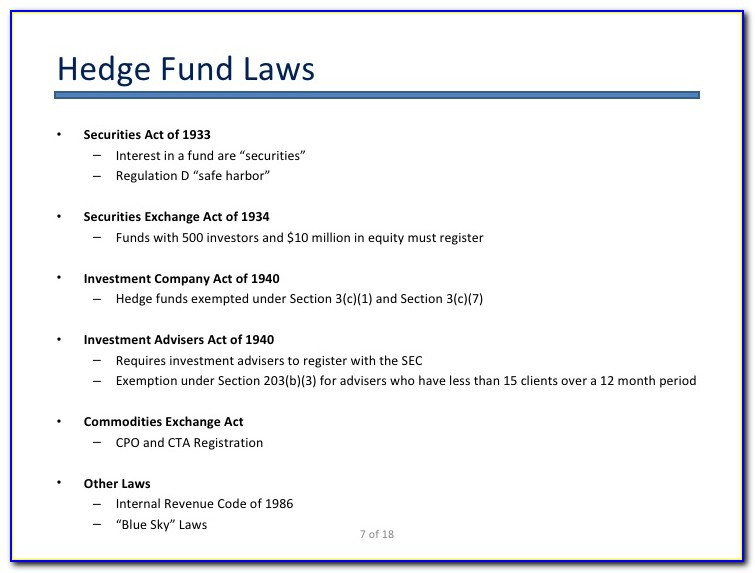 Forming And Operating A Hedge Fund