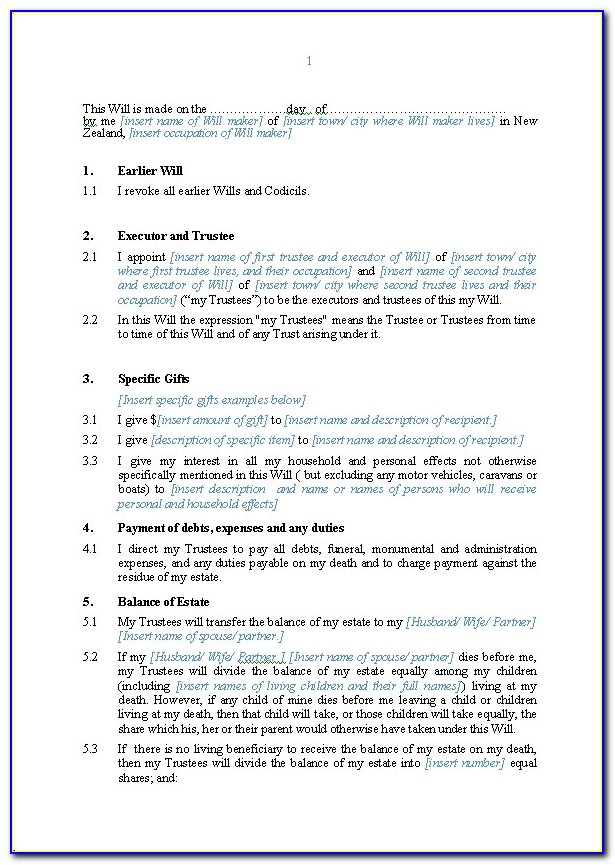 Forms For Wills And Trusts