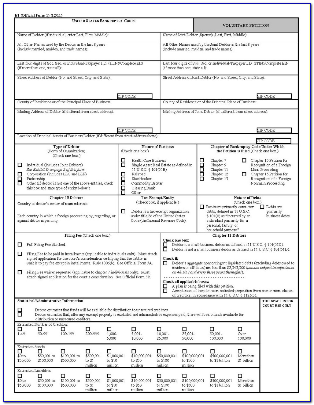 Forms Needed For Bankruptcy Chapter 7