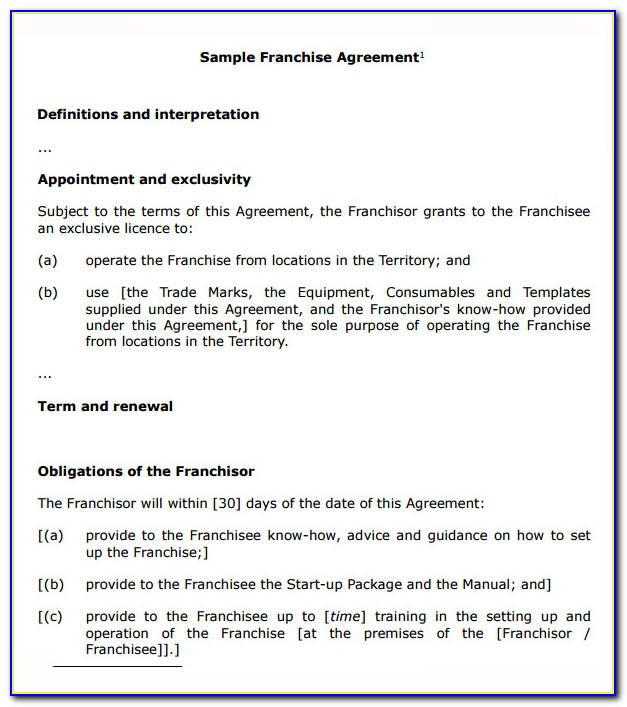 Franchise Agreement Example Pdf