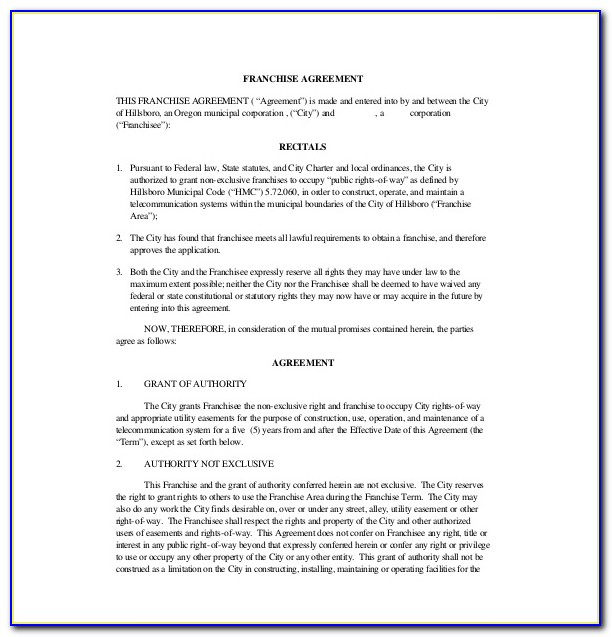 Franchise Agreement Template Pdf