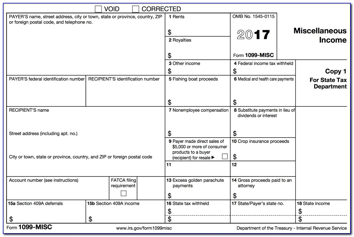 Free 1099 Misc Form 2017 Fillable