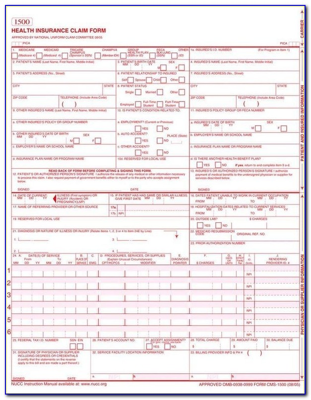 Claim Form. Claim Form: Claim Form, Paperwork And Legal Document In Cms 1500 Form Printable