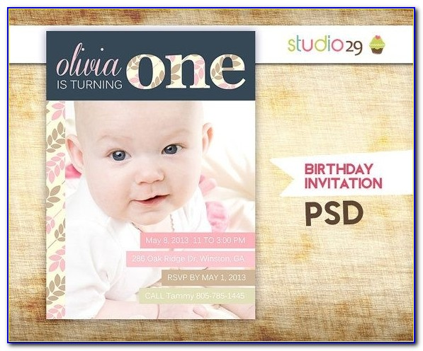 155 Best 1st Birthday!!! Images On Pinterest | Party Invitation Throughout Birthday Invitation Photoshop Template
