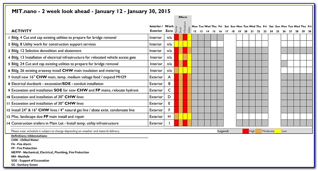 17 Images Of 4 Week Look Ahead Schedule Template   Canbum With Regard To 2 Week Construction Schedule Template
