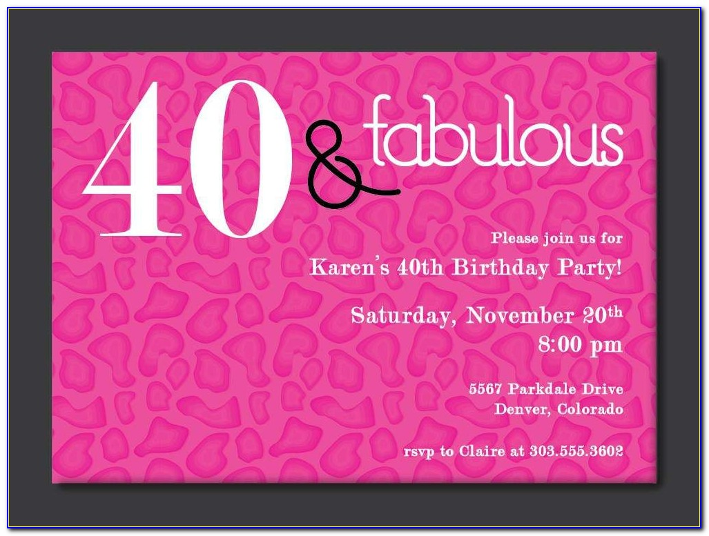 Free 40th Birthday Invitation Templates For Word