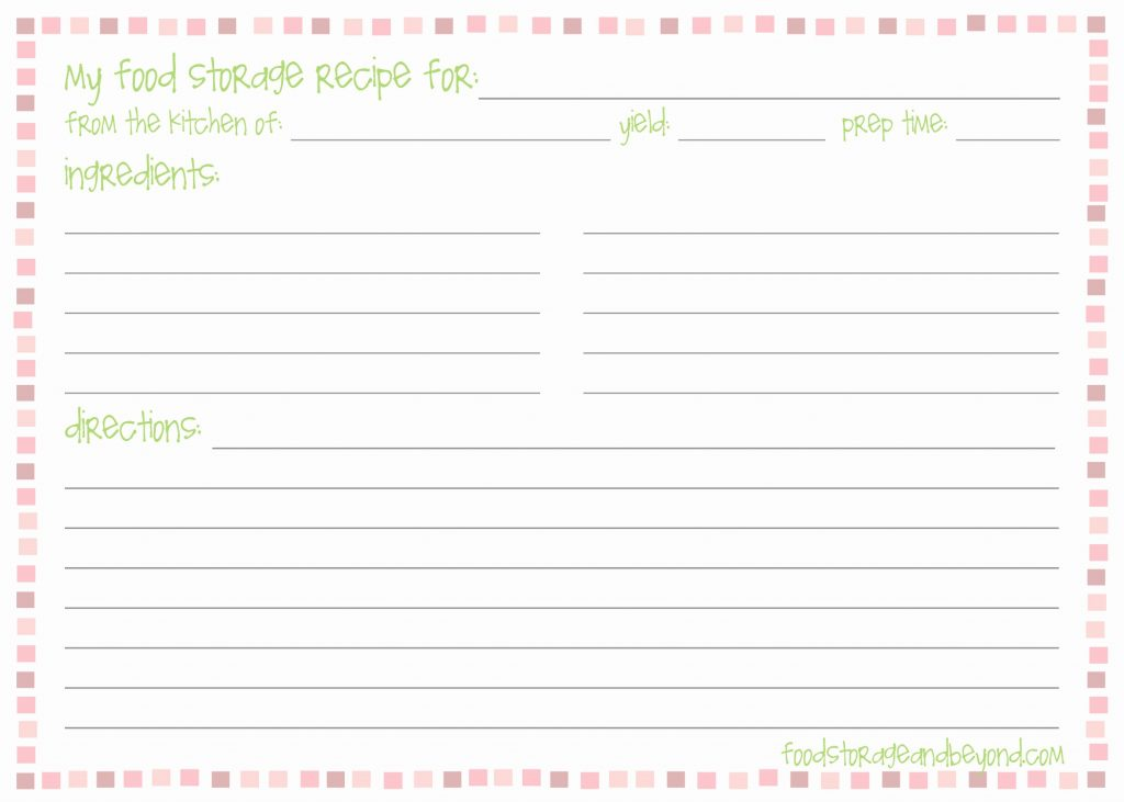 Free 4×6 Recipe Card Templates For Microsoft Word