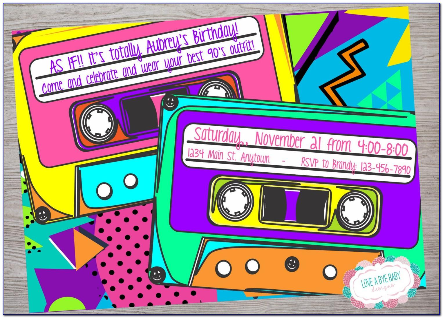 Free 90s Themed Invitation Template