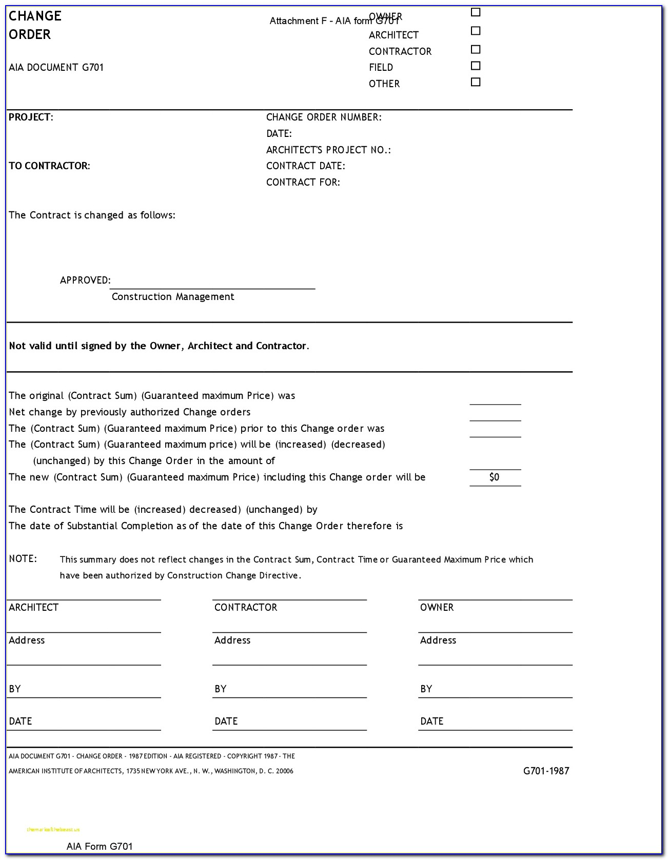 Free Aia Document G702 Fillable Form