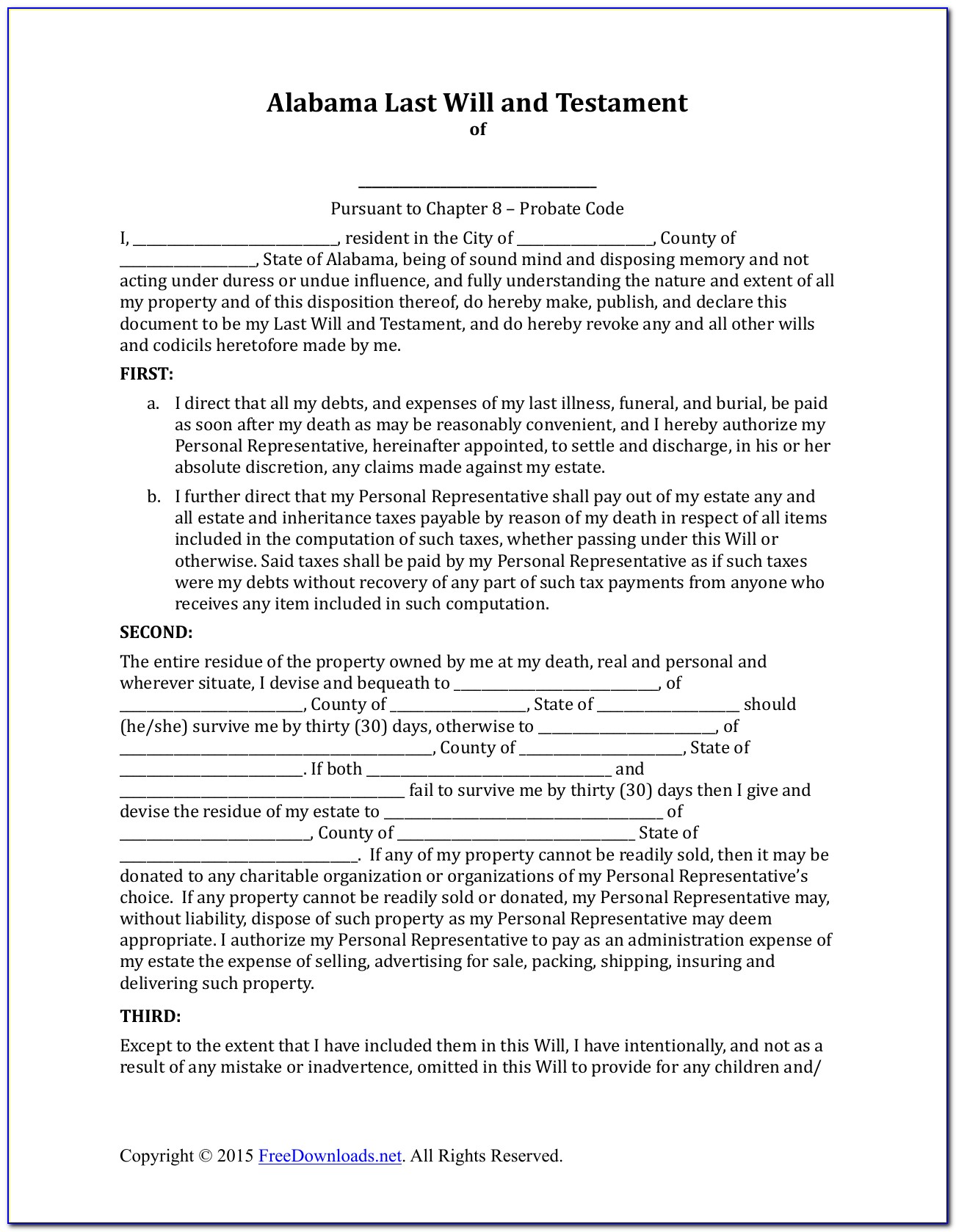 Free Alabama Last Will And Testament Form