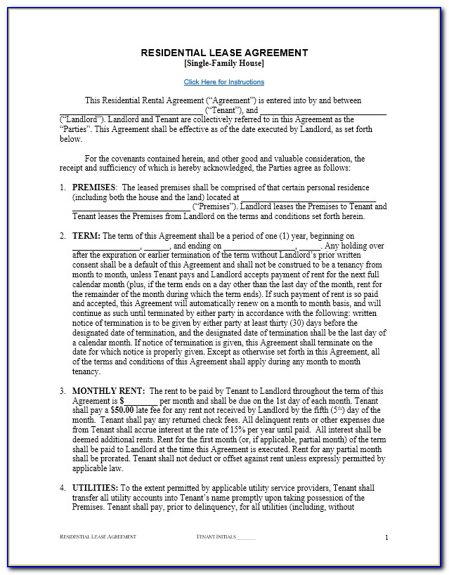 Free Apartment Lease Agreement Template Word
