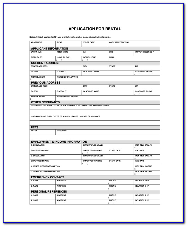 Free Apartment Rental Application Forms