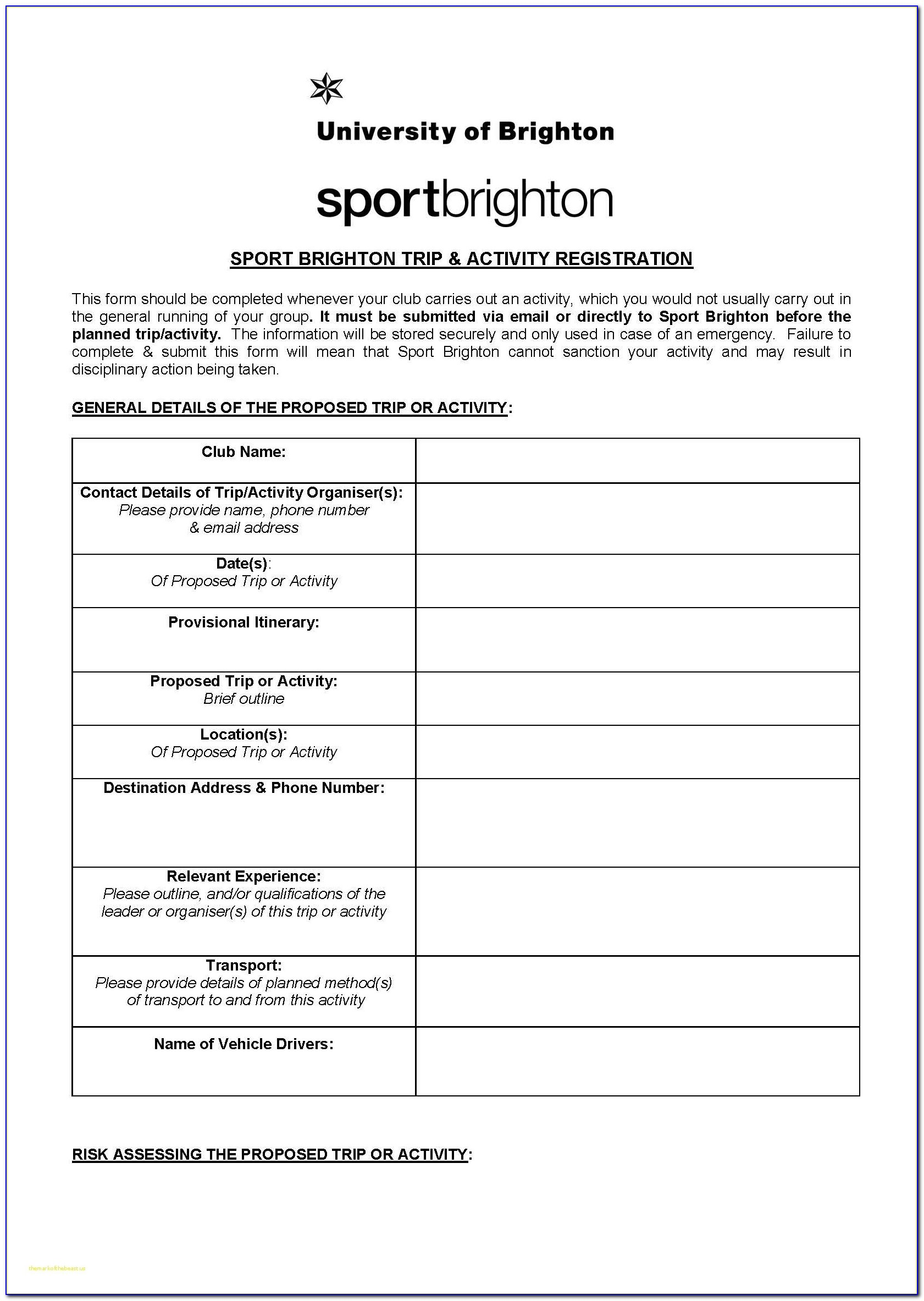 Best Of Sport Registration Form Template Free File Fillable With Registration Form Template For Sports