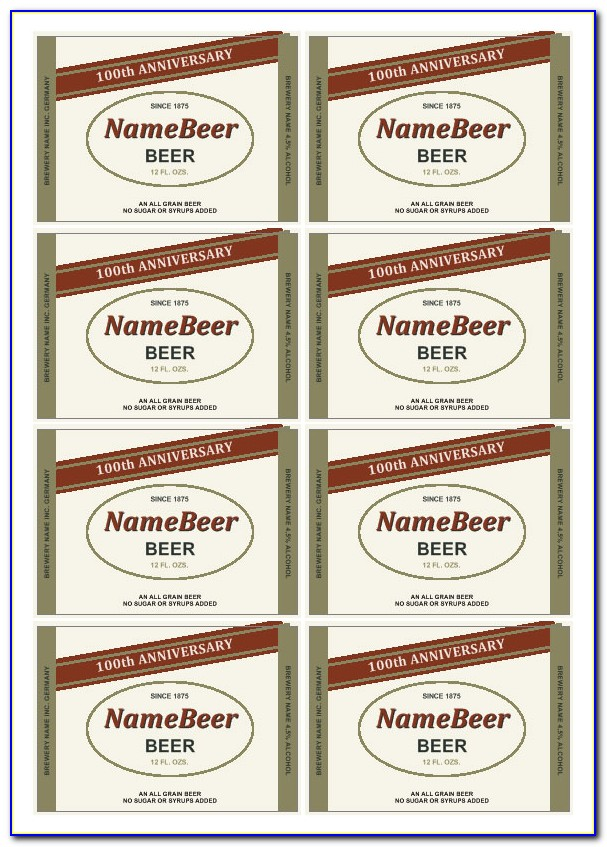 Free Beer Bottle Label Template Photoshop
