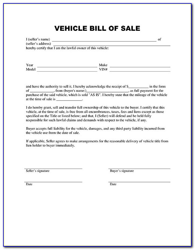 Free Bill Of Sale Template For Car Word