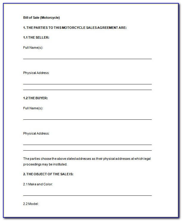 Free Bill Of Sale Template Word