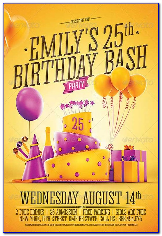 Free Birthday Party Invitation Flyer Template
