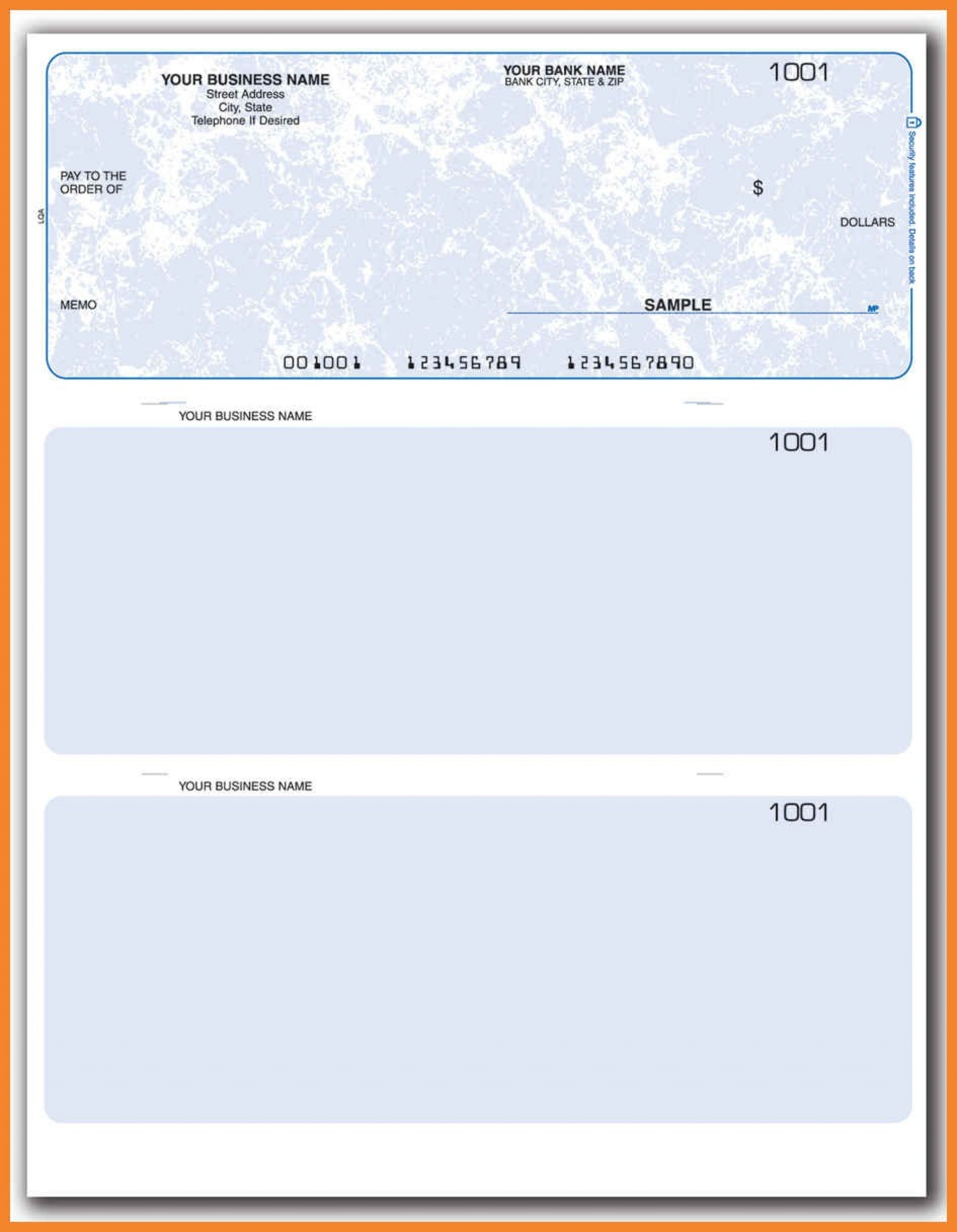 Free Blank Business Check Template Word Document