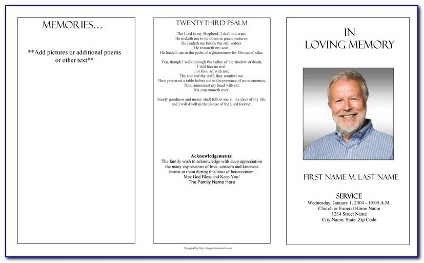 Free Blank Funeral Program Templates Word