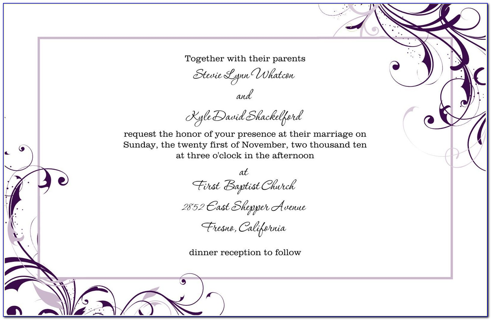 Free Blank Invitation Templates For Word