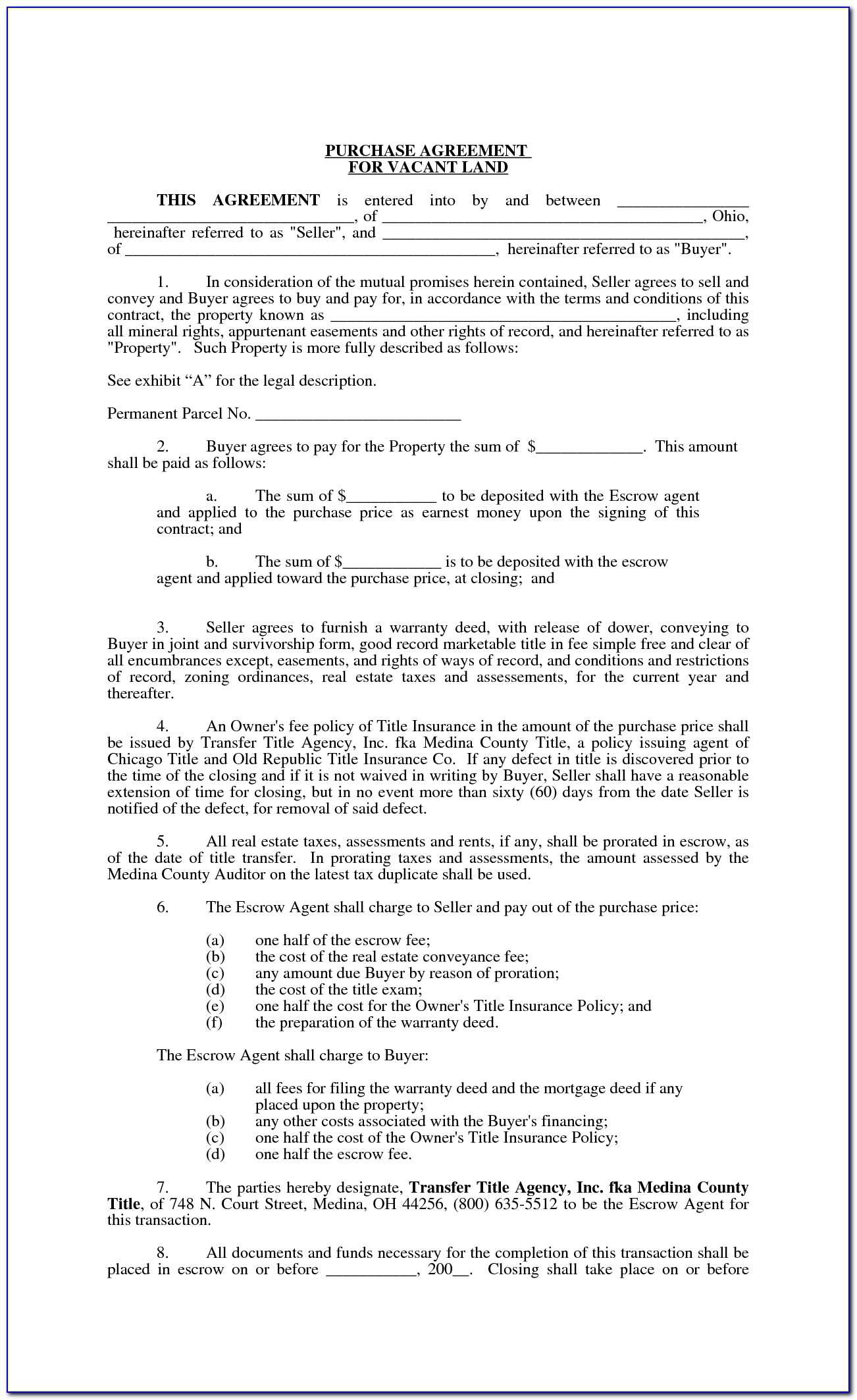 Free Blank Land Contract Forms