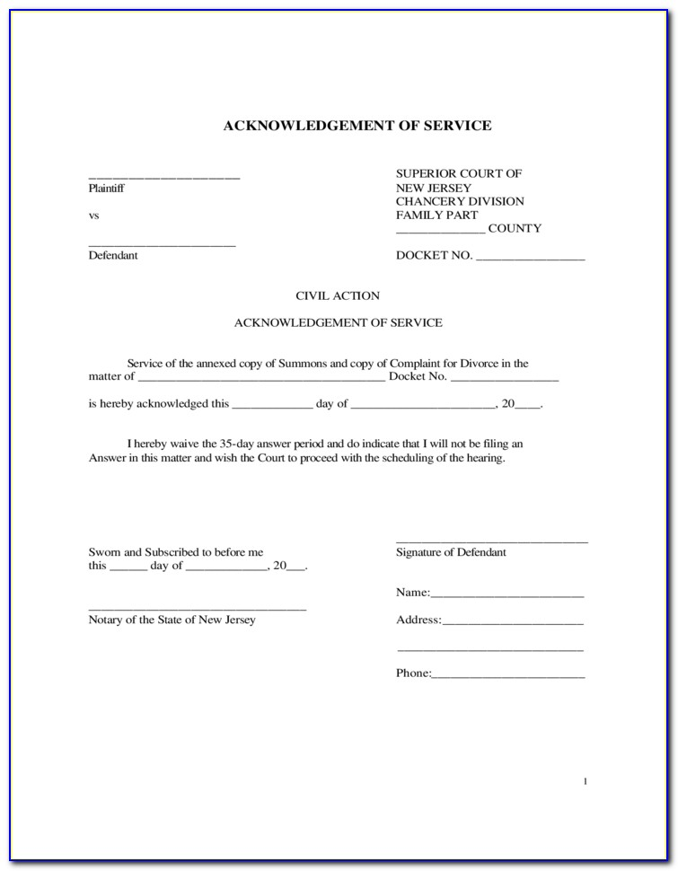 Free Blank Notary Acknowledgement Form