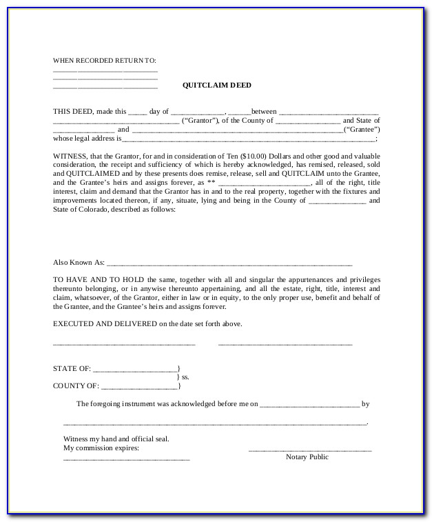 Free Blank Quit Claim Deed Form Colorado