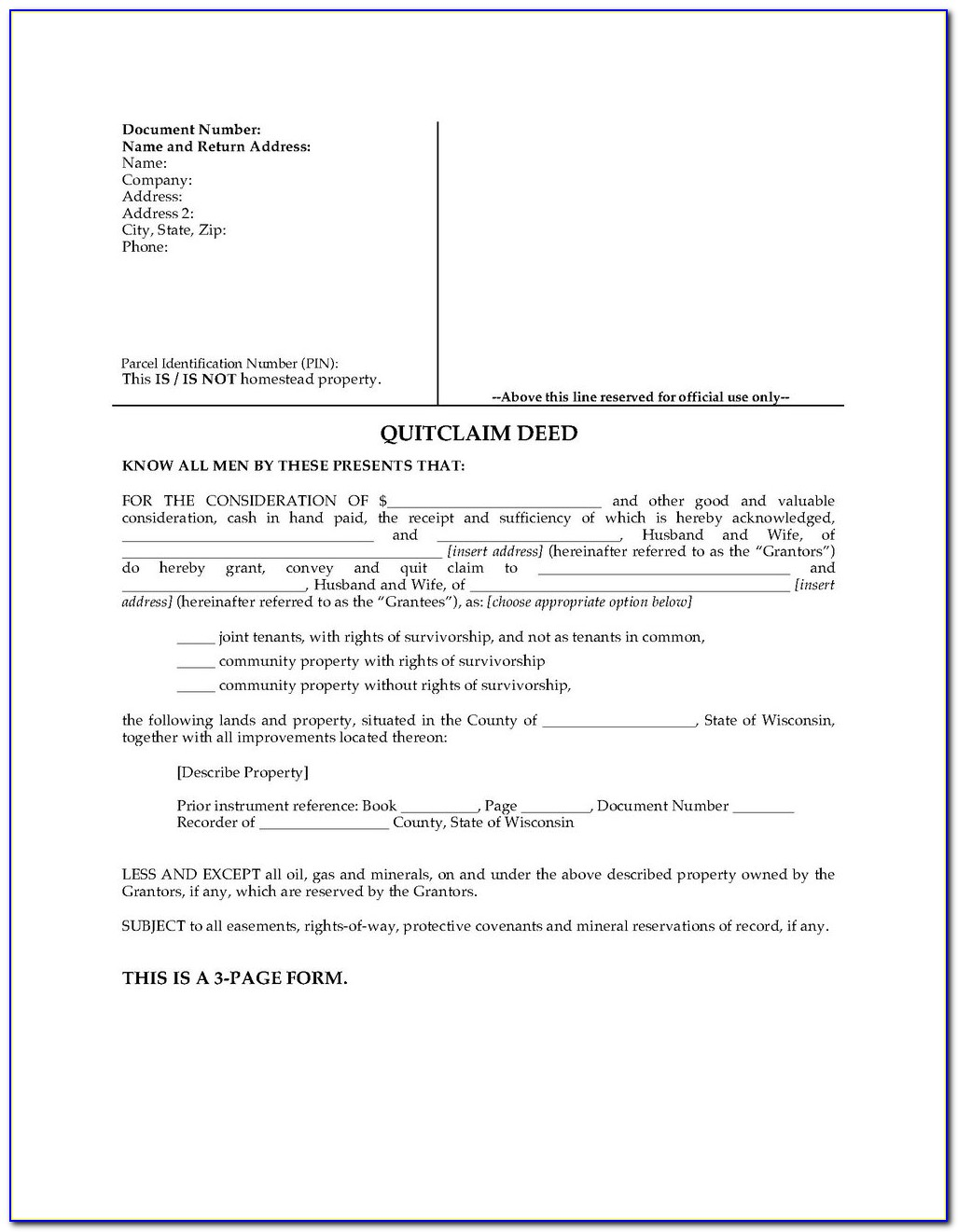 Free Blank Quit Claim Deed Form Michigan