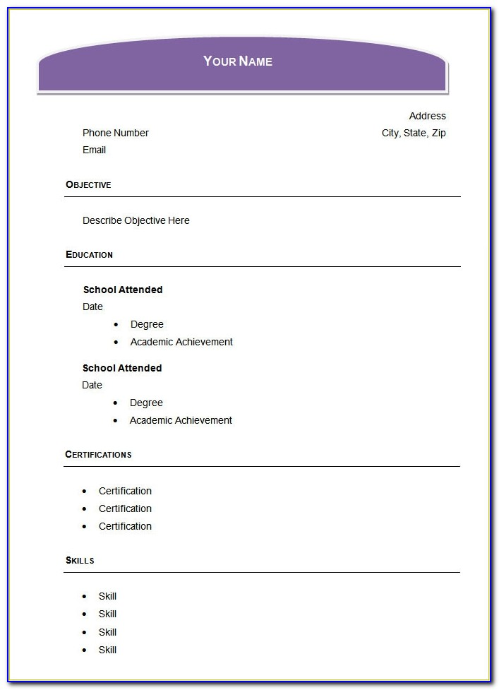 Free Blank Resume Templates For Microsoft Word