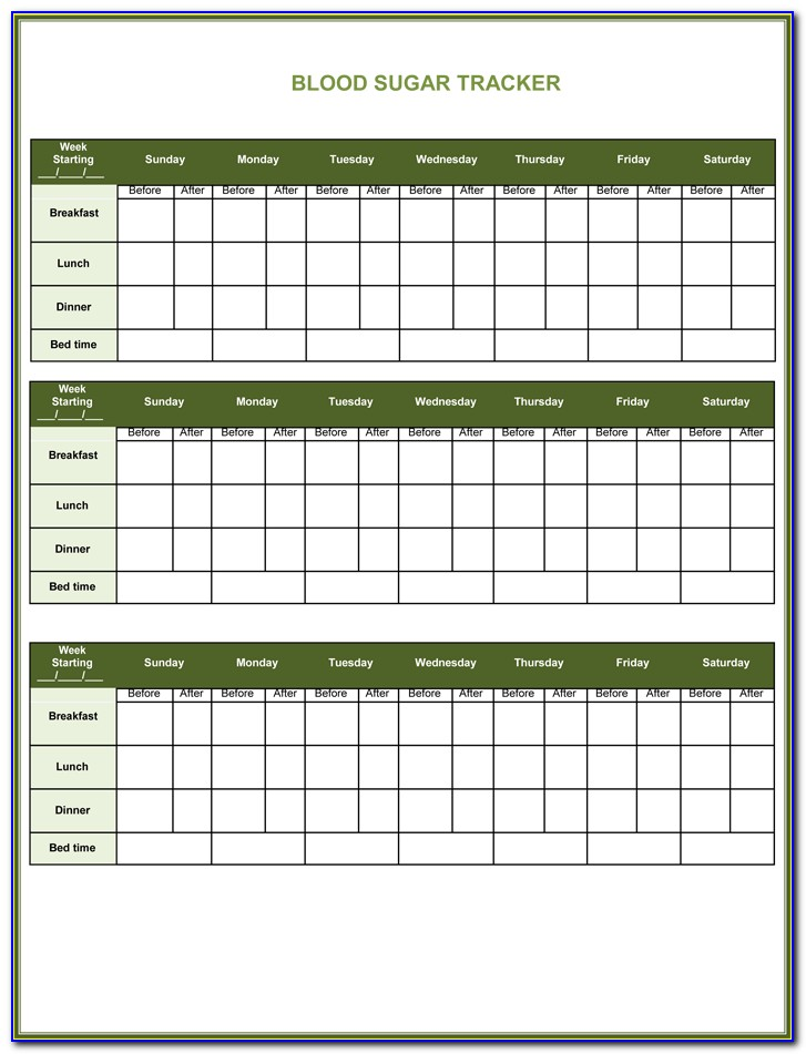 Free Blood Sugar Tracking Form