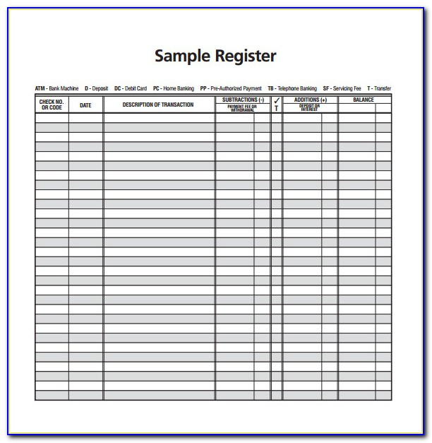 Free Business Check Register Template