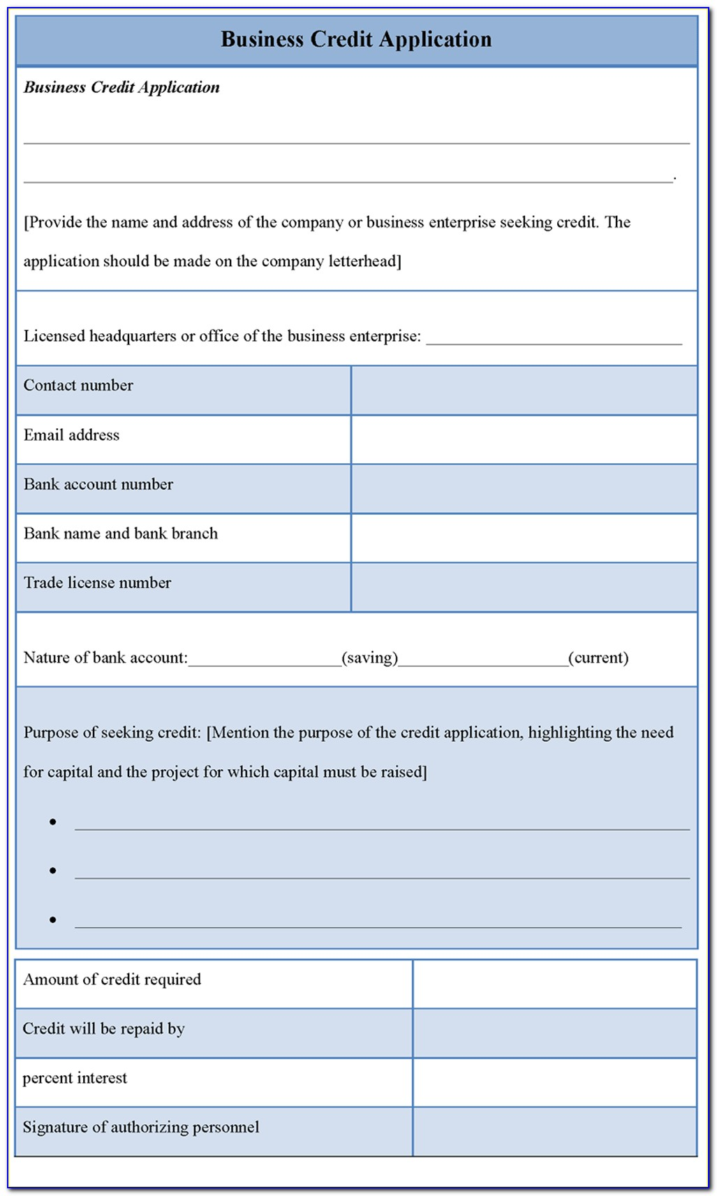 Free Business Credit Application Form Template South Africa