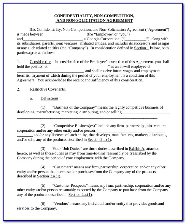Free Business Non Compete Agreement Template