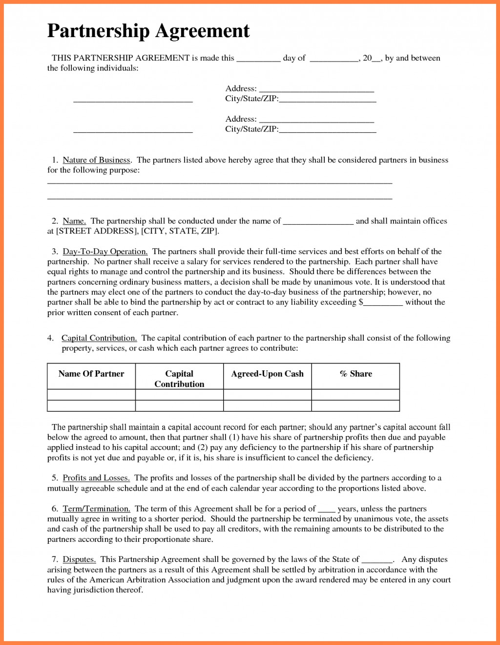Free Business Partnership Agreement Template South Africa