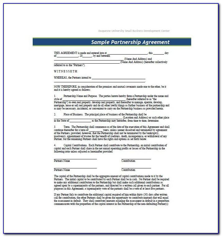 Free Business Partnership Agreement Template Word