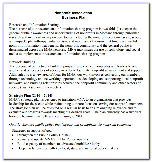 Free Business Plan Template For Nonprofit Organization