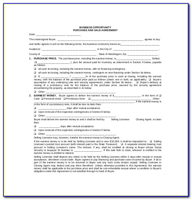 Free Business Purchase And Sale Agreement Template