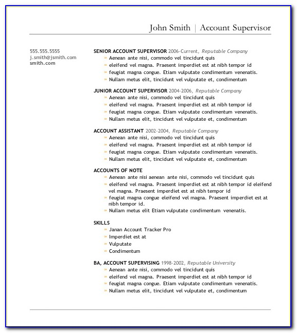 Free Business Resume Template 2017