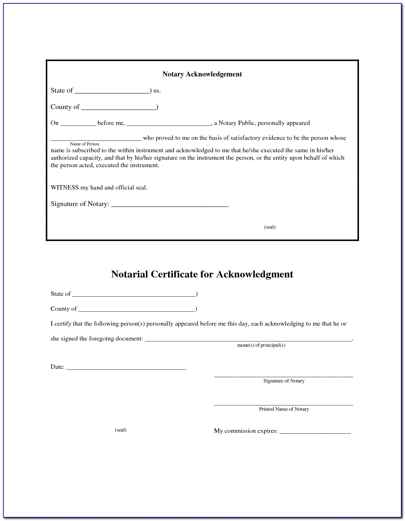 Free California Notary Acknowledgement Form