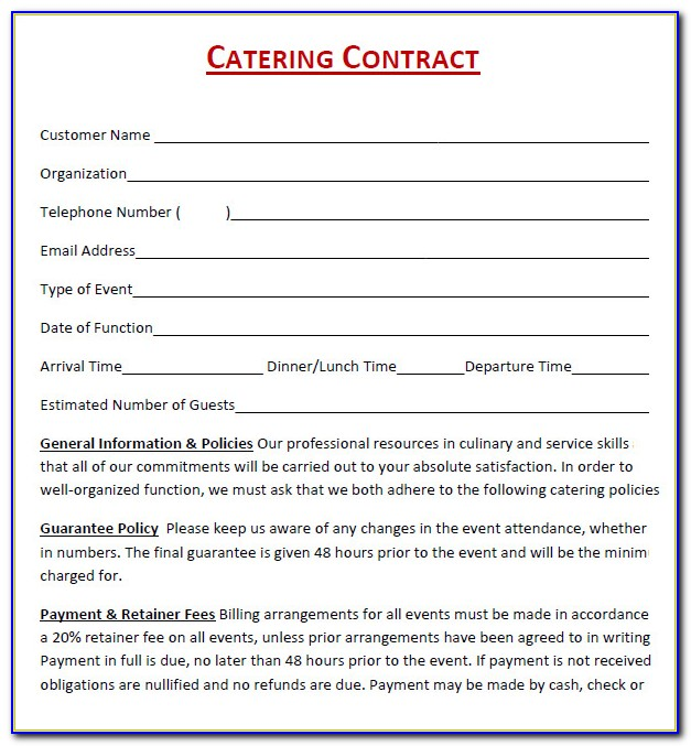 Contract For Catering Services Template Vincegray2014