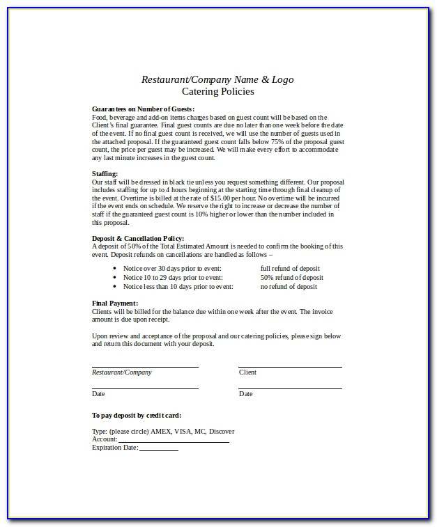 Free Catering Proposal Template Word