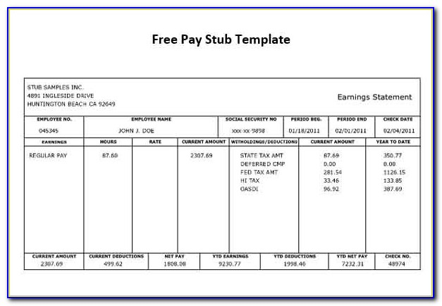 Free Check Stub Template Download