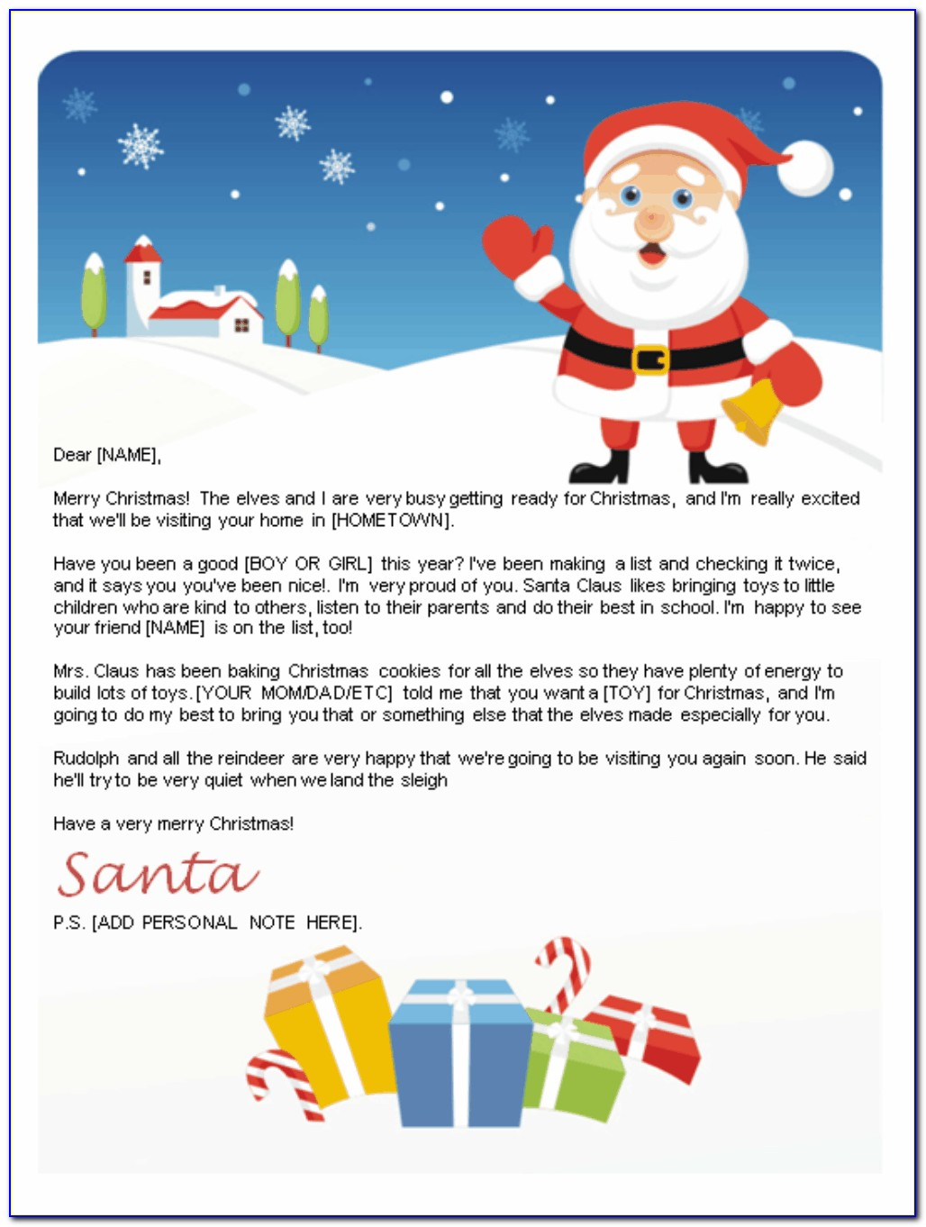 Free Christmas Letter From Santa Word Template