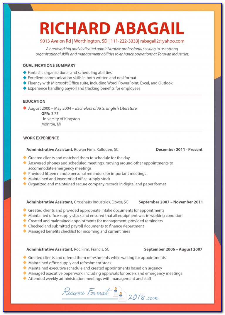 Free Chronological Resume Template Word Vincegray2014