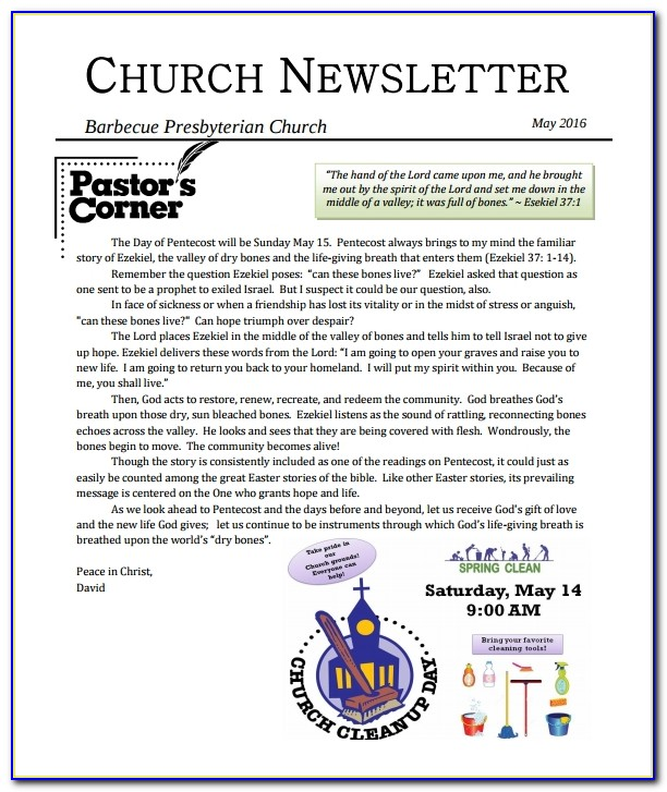 Free Church Newsletter Templates For Word