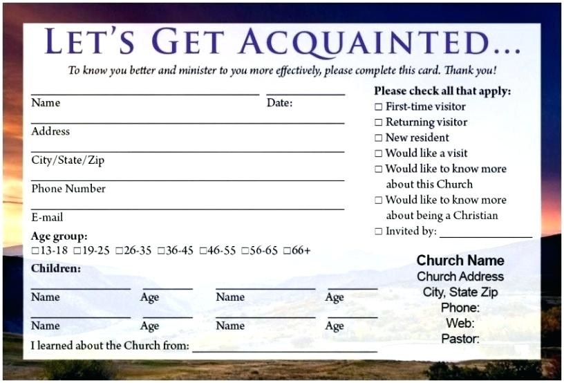 Church Visitor Card Template Word vincegray2014